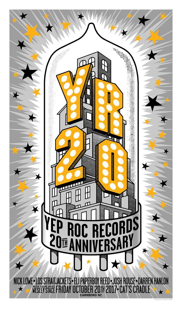 Yep Roc 20 - Friday 10/20 Silk Screened Poster (Mike King)
