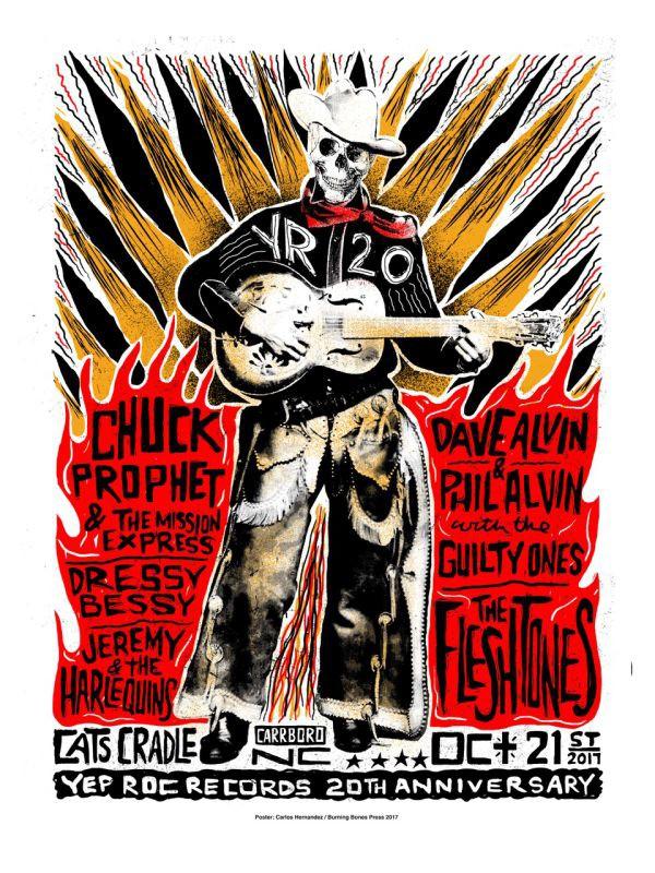 Yep Roc 20 - Saturday 10/21 Silk Screened Poster - NIGHT SHOW (Carlos Hernandez)