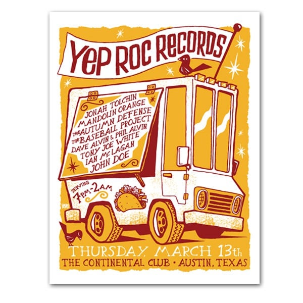 Yep Roc Records - SXSW Screen Printed Poster
